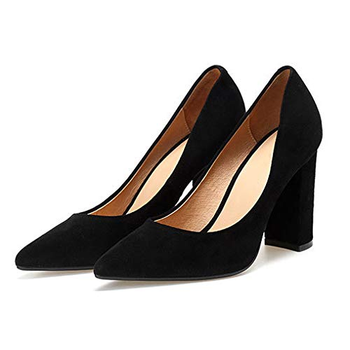 Set la Rouge 432 de Off Orteil Noir de Couleur Femmes Belle Bloc Talons Cour Peau de Hauts Suède Black Chaussures Talon Pointe Couleur X6qn1nWZH