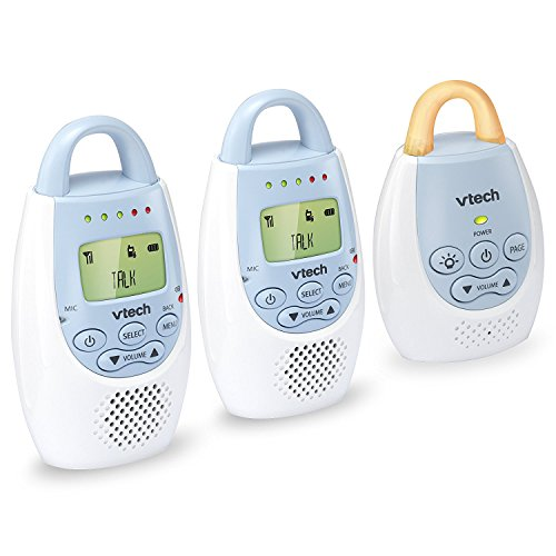 VTech BA72212BL Blue Audio Baby Monitor with up to 1,000 ft of Range, Vibrating Sound-Alert, Talk Back Intercom & Night Light Loop with 2 Parent Units (Vtech Audio Baby Monitor With 2 Parent Units)