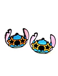Disney Inspired Lilo & and Stitch Movie Star STITCH Character Head Metal Enamel Stud Earrings