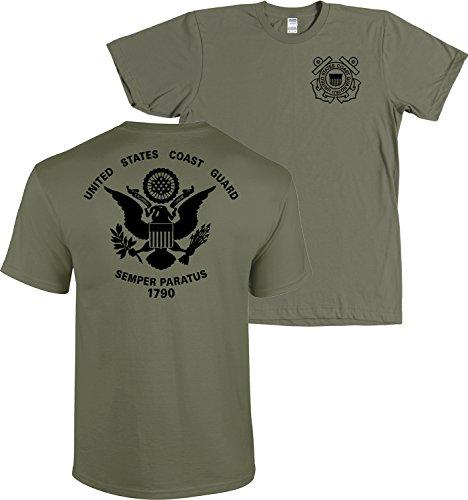 USCG US Coast Guard Flag Front & Back Military Green T-Shirt USA (Military Green, Medium)