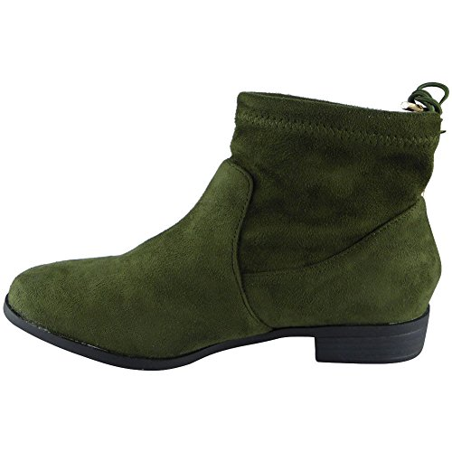 Loud Look Womens Low Heel Casual Chelsea Work Tie Up Ankle Boots 3-8 Green SnAIKd0LZw