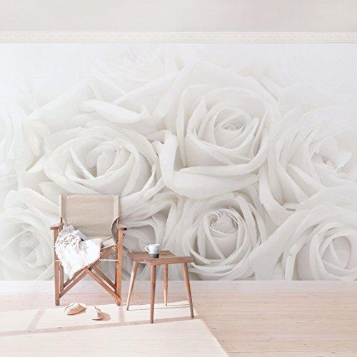 Fotomural premium white roses mural apaisado papel - Papel para pared barato ...