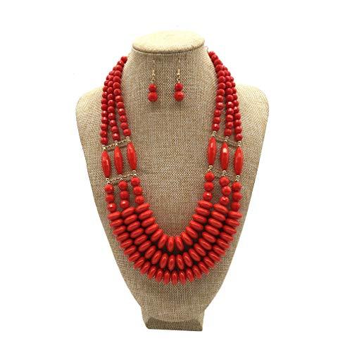 JHWZAIY Acrylic Jewel Bead Statement Necklace Set - Multi-Layered Beaded Bib Collar for Women (Red) ()