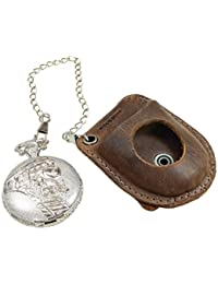 Hide & Drink, Pocket Watch Leather Case/Holder/Protector/Timepiece/Accessories, Handmade Includes 101 Year Warranty :: Bourbon Brown