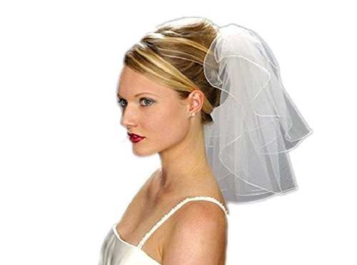 Shop Ginger Wedding 2T Bridal Veil Satin Rattail Edge Handmade USA (Shoulder 22×24, White)