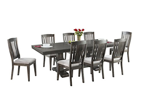 Abbey Avenue D-KNO-WSC9P 9 Piece Knox Dining Set- Table & 8 Wooden Chairs, Gray Oak