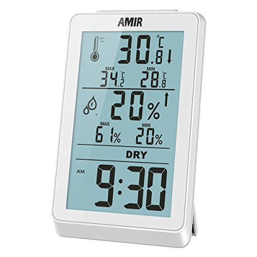 AMIR Indoor Thermometer Humidity Gauge, Digital Hygrometer, Humidity Gauge with Backlight Temperature Humidity Monitor Sensor Room Thermometer for House, Office, Baby Bedroom, etc. by Brifit
