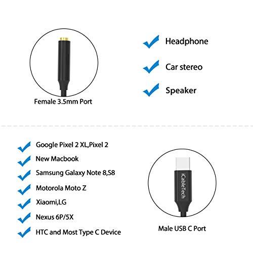 USB C Headphone Adapter, 2 Pack iCableTech Pixel 2 Headphone