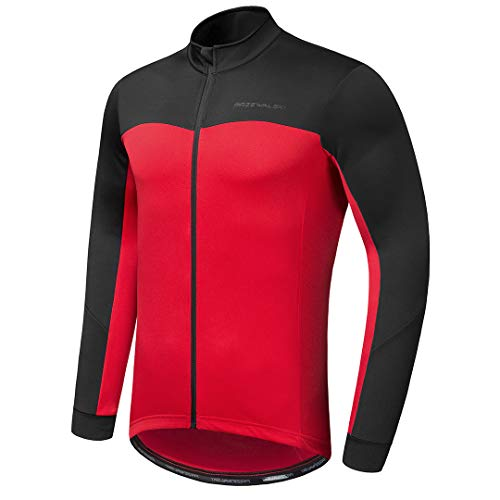 Przewalski Men's Cycling Bike Jersey Winter Thermal Long Sleeve Running Jacket with Full Zipper, Classic Series