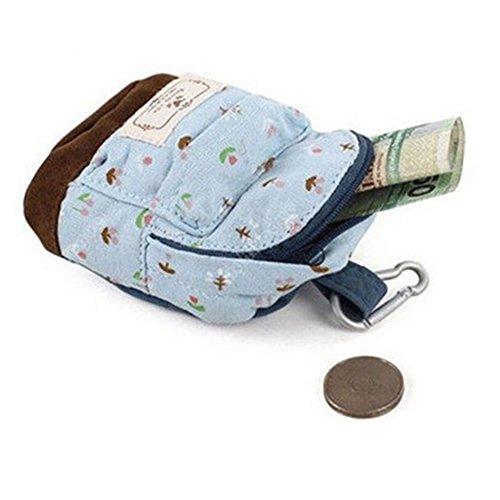 Da donna Cool zaino fiore sacchetto della moneta in mano della Borsa (blu)