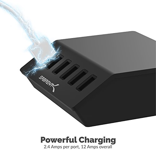 Sabrent Premium 60 Watt (12 Amp) 6-Port Aluminum Family-Sized Desktop USB Rapid Charger. Smart USB Charger with Auto Detect Technology [Black] (AX-FLCH-BT) by Sabrent (Image #4)