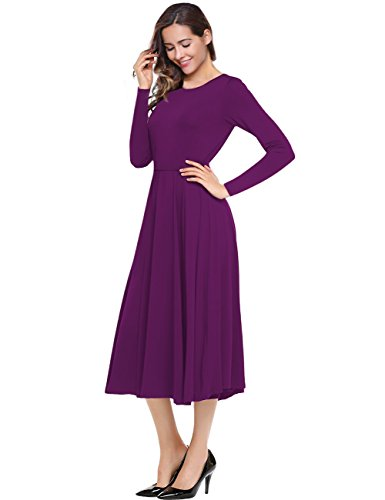- Leadingstar Women A-line Plain Solid Color Casual Swing Midi Dress (Purple, L)