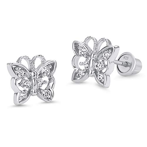 925 Sterling Silver Rhodium Plated Butterfly Cubic Zirconia Screwback Baby Girls ()
