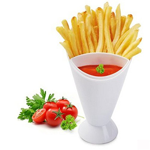 Clearance! ZOMUSA French Fry Cone Dipping Cups for French Fries and Veggies w/ Removable Dip Cup - In Gift Box (White)