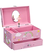 SONGMICS Unicorn Ballerina Musical Jewelry Box, Music Box with Pullout Drawer, Pink UJMC012PK