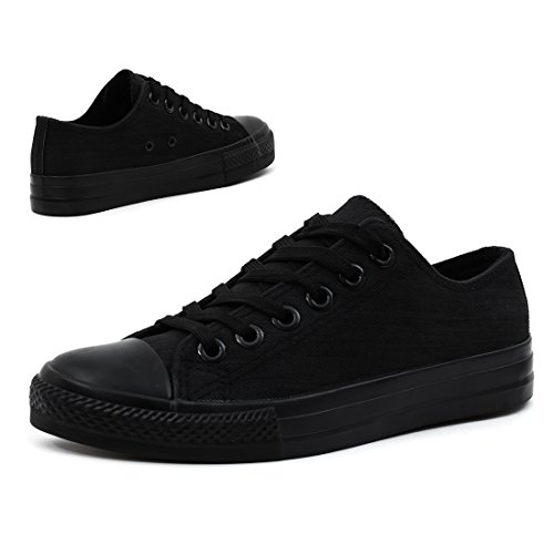 Trendige Unisex Damen Kinder Herren Schnür Sneaker Low Top Schuhe Canvas Textil Schwarz Jeansoptik