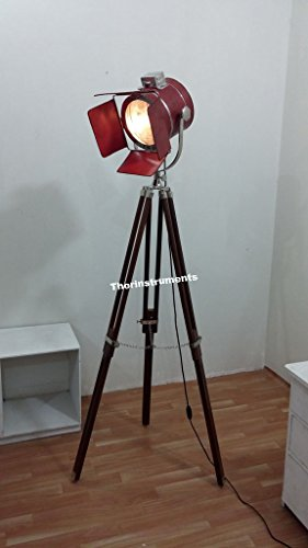 h device) COLLECTIBLE DESIGNER CHROME FLOOR SPOTLIGHT COVERD WITH LEATHER BROWN TRIPOD LAMP ()