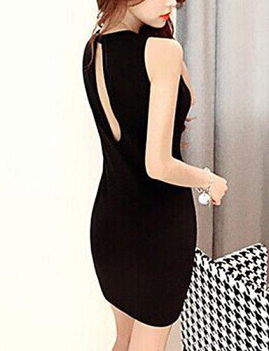 PU&PU Robe Aux femmes Gaine Street Chic,Couleur Pleine Col Arrondi Mini Coton , black-m , black-m
