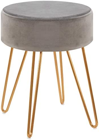 Duhome Modern Ottoman,Velvet Seat Contemporary Upholstered Round Golden Stool Backless Short Stool Dining Stool Footstool for Kitchen Bedroom Living Room Bathroom with Gold Base Grey