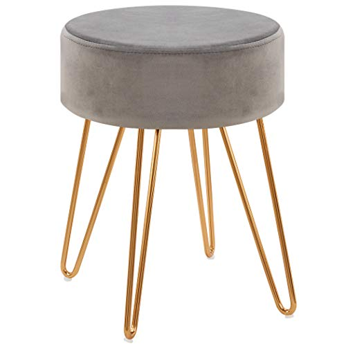 Modern Ottoman,Velvet Seat Contemporary Upholstered Round Golden Stool Backless Short Stool Dining Stool Footstool for Kitchen Bedroom Living Room Bathroom with Gold Base Grey