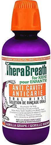 TheraBreath Kids Anti-Cavity Oral Rinse - Organic Gorilla Grape | Fluoride & Xylitol - Supports Healthy Te
