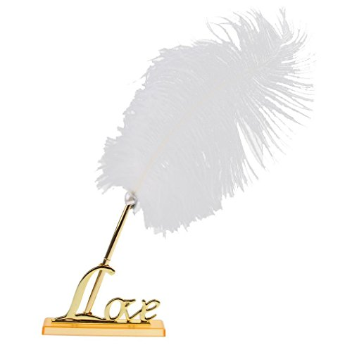 EBTOYS Wedding Feather Signing Pen with Love Sign Pen Stand Holder Wedding Reception Party Table Decor