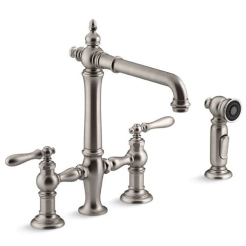 Collection Deck Mount Kitchen Faucet (Kohler K-76519-4-VS Artifacts Deck-Mount Bridge Kitchen Sink Faucet with Lever Handles and Sidespray)