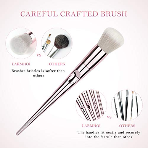 Makeup Brushes Sets, LARMHOI 10 Pcs Premium Synthetic Cosmetic Brushes with 2 IN 1 Facial Brush Cleaner, Blending Blush Powder Eye Shadow Make Up Brushes Kit for Woman, Beauty, Valentine's Gift