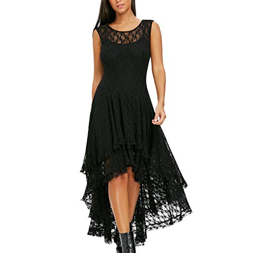 (Dress for Women Backless Sleeveless Lace Patchwork Irregular Hem Layered Pleated Flowy Sexy Elegant Dresses (L, Black))