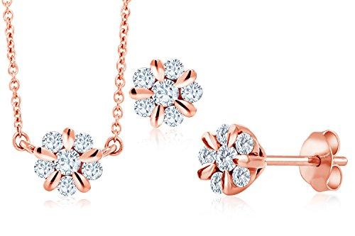 (Gem Stone King 10K Solid Rose Gold 0.468 Cttw White Diamond Flower Blossom Pendant Set With Matching Earrings)