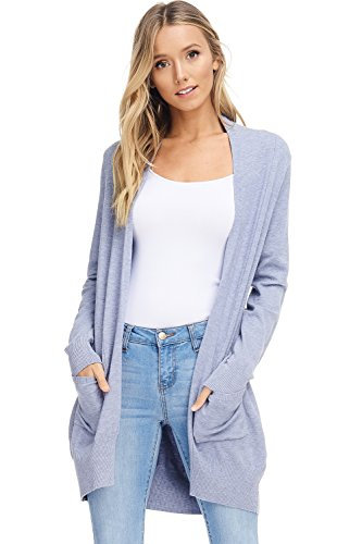 AD Womens Basic Open Front Knit Cardigan Sweater Top W/Pockets (Powder Blue, Small/Medium) - Long Open Cardigan