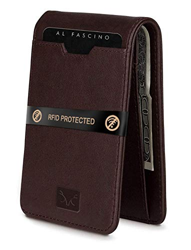 Al Fascino Branded Men's Wallets Stylish RFID Protected Genuine Leather Brown Bifold Front Pocket Wallet for Men Below…