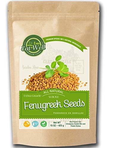 Fenugreek Seeds   15oz - 425 g - Reseable Bag -Bulk   Whole Fenugreek Methi Seed   Fenogreco en Semillas   Gluten Free & Non-GMO   Trigonella Foenum Graecum