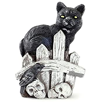 Stretching Black Cat with Lighted Green Eyes Halloween Table Shelf Home Decor