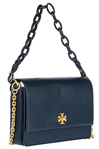Tory Burch borsa donna a spalla shopping in pelle nuova kira blu