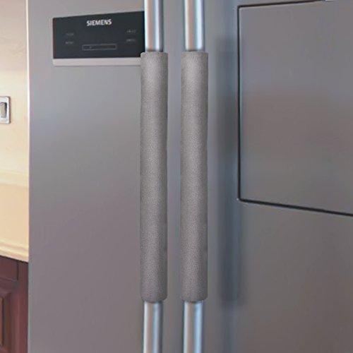 Vezfinel Refrigerator Door Handle Covers,Fridge Oven Dishwasher Protectoer,Catch FingerprintsSmudges Kitchen Appliances Handmade Decoration (Grey)
