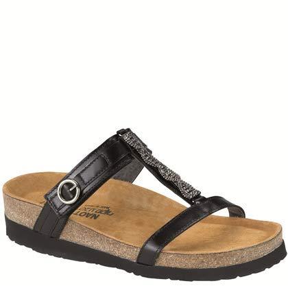NAOT Footwear Women's Malibu Sandal Black Madras Lthr 41 M EU
