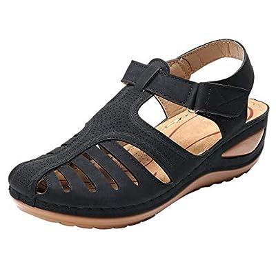 Women's Shoes,Retro Ladies Girls Comfortable Ankle Hollow Round Toe Sandals Casual Rome Soft Sole Shoes Plus Size