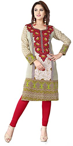 Womens Long India Tunic Top Kurti Printed Blouse Indian Clothing – S…Bust 34 inches, Maroon