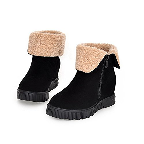Black Imitated Kitten Boots Top Suede Solid AgooLar Women's Zipper Heels Low AC5qvnaw