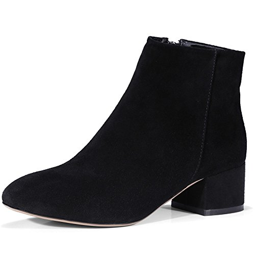 Nine Seven Suede Leather Womens Square Toe Chunky Heel Fashion Handmade Sexy Ankle Boots Black-suede Leather Xnj86