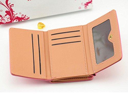 Diyafas Damen PU Leder Kurze Geldbörse Kartenhalter Mädchen Clutch Geldbeutel Portmonee mit Münztasche Rosa