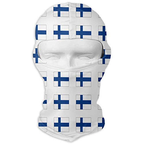 Wind-Resistant Balaclava Hood, Finnish Flag Face Mask for Hiking White