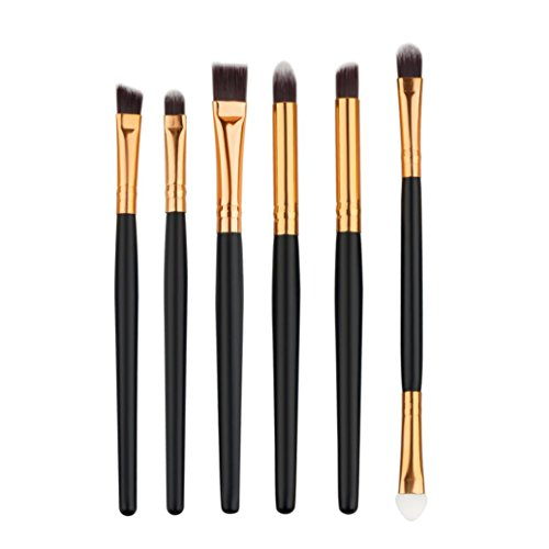 6pcs Makeup Brushes Powder Foundation Eyeshadow Eyeliner Brush (Black+ Red) - 6