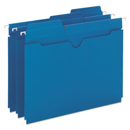 Hanging Flat File Jackets, 1/5 Tab, 11 Point Stock, Letter, Sky Blue, 25 per Box ()
