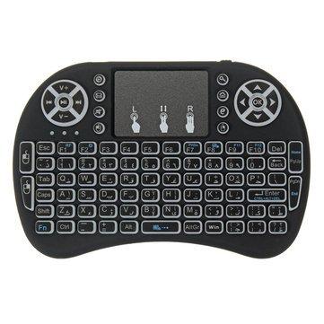 I8 Three Color Backlit Arabic Version 2.4G Wireless Mini Keyboard Touchpad Air Mouse - Mini Keyboard & Remote Mini Keyboard - (Black) - 1 x I8 Arabic Version Mini Keyboard, 1 x USB