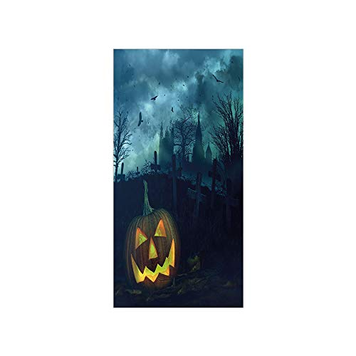 3D Decorative Film Privacy Window Film No Glue,Halloween,Halloween Pumpkin in Spooky Graveyard Eerie Gloomy Stormy Atmosphere,Petrol Blue Yellow,for Home&Office ()