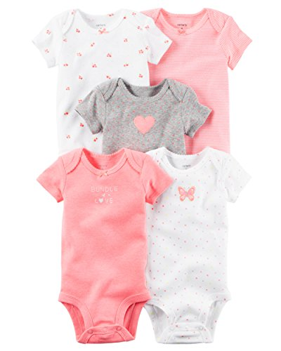 William Carter Girls 5 Pack Short Sleeve Bodysuit Undershirt Set Bundle Pink, 3 Months