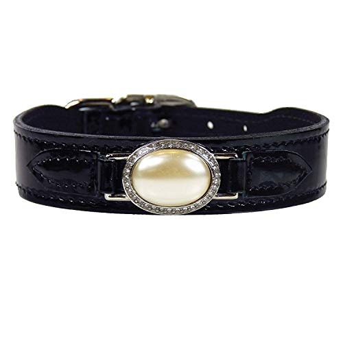 (Hartman and Rose Estate Dog Collar in Black Patent & Cream Pearl : 20-22 Inch)