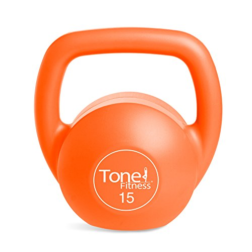 Tone Fitness Vinyl Kettlebell, 15-Pound, Orange (Vinyl Kettle)